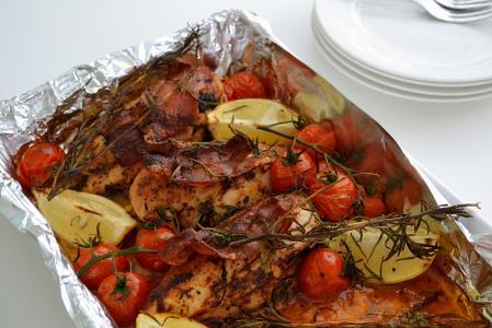 Pečené kuře s cherry rajčátky